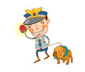 Policeman close up of man with dog Royalty Free Stock Photography
