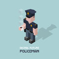 Policeman with coffee. Cubes composition isometric vector illustration of police officer. Cop with cup of coffee Royalty Free Stock Photo