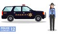 Policeman concept. Detailed illustration of policewoman officer and police car in flat style on white background. Vector illustrat Royalty Free Stock Photo