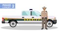 Policeman concept. Detailed illustration of sheriff and police car in flat style on white background. Vector. Royalty Free Stock Photo
