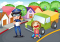 The policeman and the crying driver illustration of Royalty Free Stock Photography
