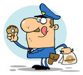 Policeman eating donut Royalty Free Stock Photography