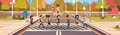 Policeman Guard Help Group Of School Children Crossing Road Royalty Free Stock Photo