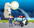 A policeman and his patrol car near the statue of Merlion Royalty Free Stock Photos