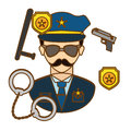 policeman with his tools icon image Royalty Free Stock Photo