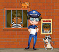 A policeman holding a pen and a paper with two cats in the jail Royalty Free Stock Photo