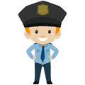 Policeman Kid Boy Standing Royalty Free Stock Photo