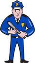 Policeman with night stick baton standing illustration of a police officer facing front on isolated background done in cartoon Stock Image