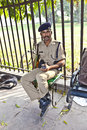 Policeman pays attention in the red fort to protects visitors delhi india november from crime on november delhi india Stock Photography