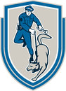 Policeman with police dog canine crest retro illustration of a officer holding torch flashlight trained guard viewed from front Stock Photos