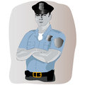 Policeman profession in uniform on gray background vector illustration occupation Stock Image