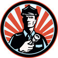 Policeman Security Guard Flashlight Retro Royalty Free Stock Images