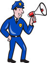 Policeman shouting bullhorn isolated cartoon illustration of a police officer using megaphone viewed from side done in style on Stock Image
