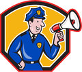 Policeman shouting bullhorn shield cartoon illustration of a police officer using megaphone set inside done in style on isolated Royalty Free Stock Photography