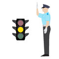 Policeman and traffic light Royalty Free Stock Photo