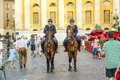 Policenmen with horses watch verona italy august the scenery at the entrance of the arena late afternoon on august verona italy Stock Photography