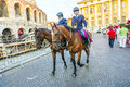 Policenmen with horses watch verona italy august the scenery at the entrance of the arena late afternoon on august verona italy Royalty Free Stock Images