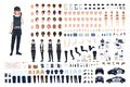 Policewoman animation set or DIY kit. Bundle of female police officer body parts, faces, hairstyles, uniform, clothing