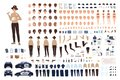 Policewoman constructor set or animation kit. Collection of female police officer body parts, gestures, postures