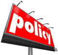 Policy word billboard sign following rules compiance guidelines on a red or banner to illustrate important regulations laws or Royalty Free Stock Photos