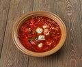 Polish beet soup with dumplings Royalty Free Stock Photo