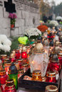 Polish cemeteries all saints day on Stock Image