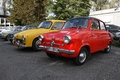 Polish classic cars red mikrus mr fiat p yellow syrena fiat p Royalty Free Stock Images