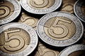 Polish coins background Royalty Free Stock Photos