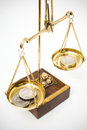 Polish coins on gold scale scales Stock Photography