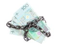 Polish currency with chain for security and investment stack money zloty paper banknotes in isolated on white Stock Images