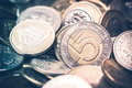 Polish Currency Coins. Five and Two Zloty Coins Closeup Photo. Royalty Free Stock Photo