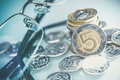 Polish Currency Coins and Glasses. Five Zloty Coins. Royalty Free Stock Photo