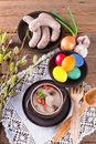 Polish easter soup egg sausage Stock Photos