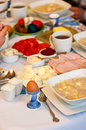 Polish easter table setting of traditional breakfast with national dishes and food Stock Photo