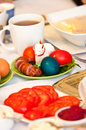Polish easter table setting of traditional breakfast with national dishes and food Stock Photography