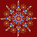 Polish embroidery star folk traditional design with floral Royalty Free Stock Image