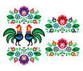 Polish ethnic floral embroidery with roosters traditional folk pattern decorative patters set paper catouts style isolated on Stock Photo