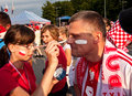 Polish fans before a sport event Royalty Free Stock Photo