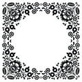 Polish floral folk black embroidery frame pattern wzory lowickie traditional border print form poland paper catouts style isolated Royalty Free Stock Images
