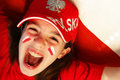 Polish girl sports fan Royalty Free Stock Photo