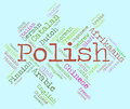 Polish language shows vocabulary word and lingo meaning dialect communication Stock Images