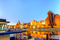 Polish Old Town Gdansk as Christmas time winter Royalty Free Stock Photo