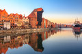 Polish old town Gdansk with medieval crane Royalty Free Stock Photo