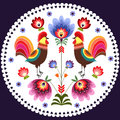 Polish pattern folk traditional design with roosters Stock Photography