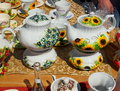 Polish porcelain beautifully painted tableware for the fete in lowicz Stock Image