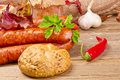 Polish sausage (Polska) Stock Photo