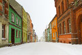 Polish street winter time gniew Royalty Free Stock Photos