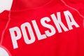 Polish word polska inscription on a red shirt sports Royalty Free Stock Image