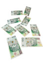 Polish zloty banknotes flying isolated on white background Stock Photography