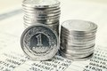 Polish zloty coins close up Stock Photos